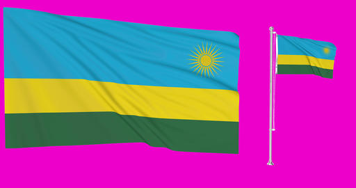 Rwanda waving rwandan waving two flags waving Rwanda green screen rwandan green screen flag green Animation