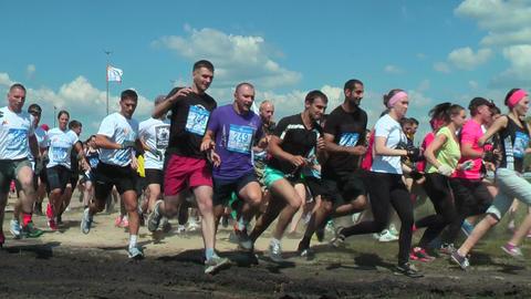 Teams start in cross-country race.Tyumen Footage