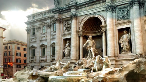 Trevi Fountain, in a Cloudy Day Footage