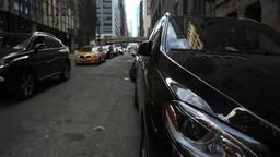 New York City Manhattan street view with busy traffic of taxis cars Footage