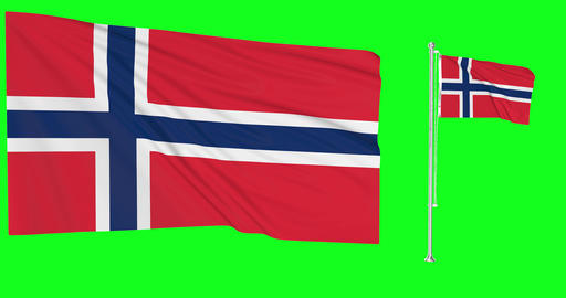 Norway waving norwegian waving two flags waving Norway green screen norwegian green screen flag Animation