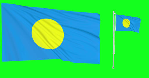 Palau waving palauan waving two flags waving Palau green screen palauan green screen flag green Animation