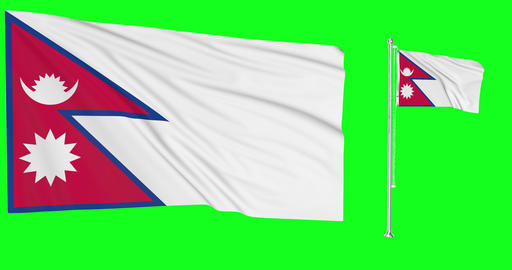 Nepal waving nepali waving two flags waving Nepal green screen nepali green screen flag green screen Animation