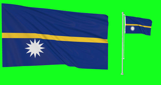 Nauru waving nauruan waving two flags waving Nauru green screen 3d nauruan flag green screen flag Animation