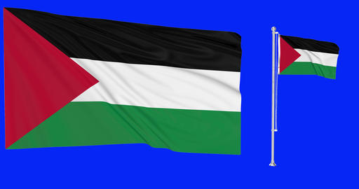 Palestine waving palestinian waving two flags waving Palestine green screen palestinian green screen Animation