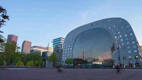Day to night time lapse of Markthal the famous place in Rotterdam, Netherlands Live Action