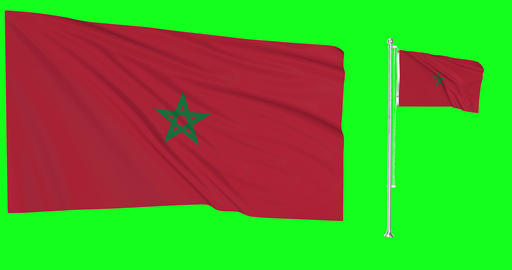 Two flags waving Morocco waving moroccan waving flagpole national Morocco national moroccan national Animation