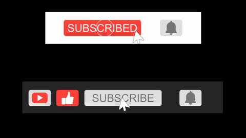 Youtube Subscribe Like and Get Notified Button with H-264 Alpha Matte Channel Animation