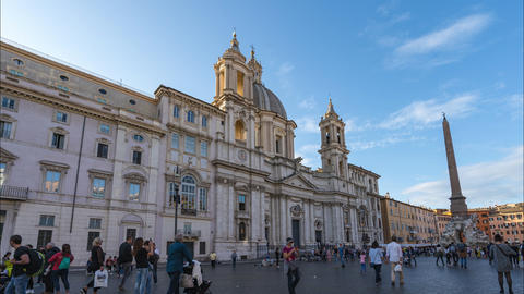 Piazza Navona with the crowd of traveller in Rome, Italy Live Action