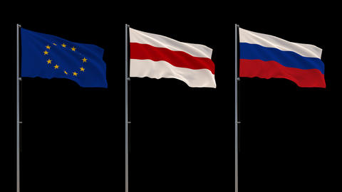 Flags of EU, Belarus, and Russia waving on transparent background, 4k footage Live Action