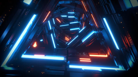 3D Sci-Fi Triangles Speed Tunnel VJ Loop Motion Background Animation