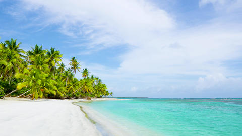Natural tropical Sea Beach landscape. Crystal clear sea wave and white sand beach Live Action