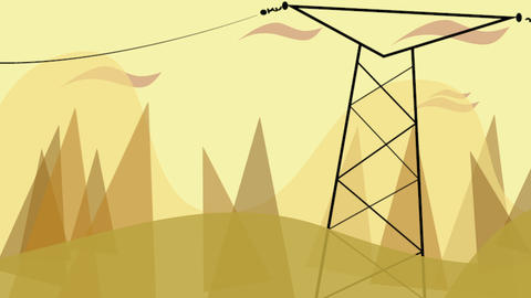 Cartoon animation background with motion clouds and power line, abstract cityscape backdrop Animation
