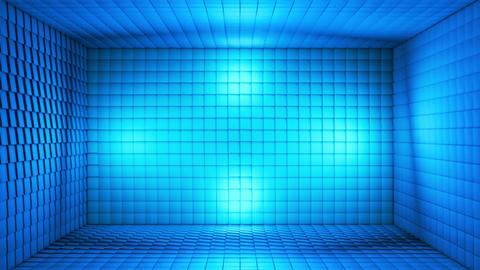 Broadcast Pulsating Hi-Tech Cubes Room Stage, Blue, Events, 3D, Loopable, 4K Animation