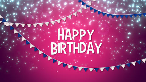 Animated closeup Happy Birthday with colourful garland text on holiday background Animation