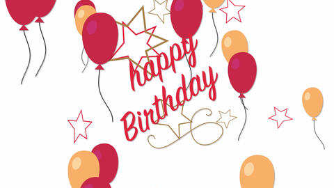 Animated closeup Happy Birthday text with colourful balloon on holiday background Animation