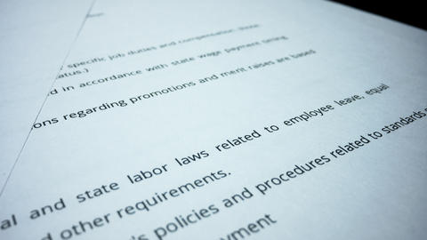 Business documents lying on table. Business man hand checking terms of contract Live Action