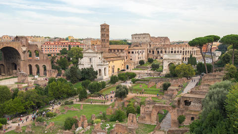 Roman Forum with crowd of people in Rome, Italy Live Action