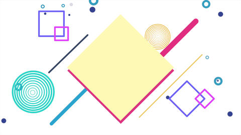 Motion abstract geometric shapes squares and dots, white Memphis background Animation