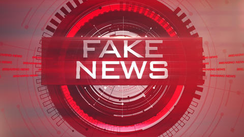 Animation text Fake News and news intro graphic with lines and circular shapes in studio, abstract Animation