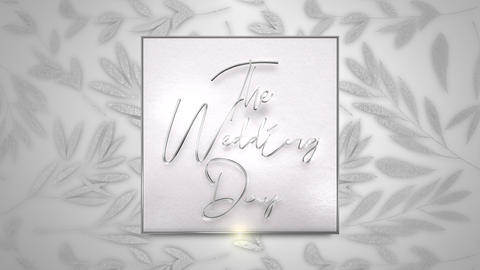 Closeup text The Wedding Day and vintage frame with flowers motion, wedding background Animation