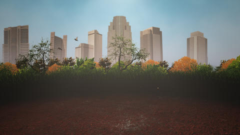 Panorama of city landscape with many big buildings and park in summer day Animation