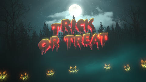 Animation text Trick or Treat on Halloween background animation with the forest and pumpkins, Animation