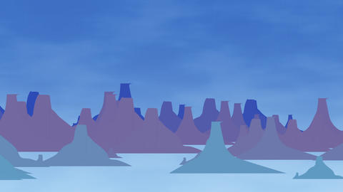 Cartoon animation background with mountain and clouds, abstract backdrop Animation