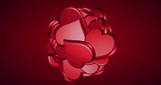 falling valentine day red hearts shape with explosion on red gradient background with alpha channel Live Action