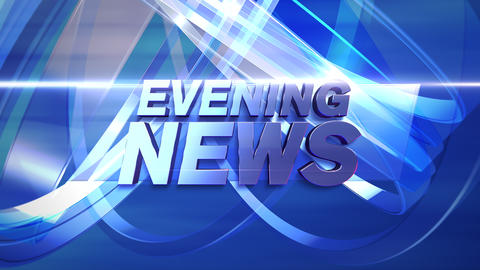 Animation text Evening News and news intro graphic with lines and circular shapes in studio, Animation
