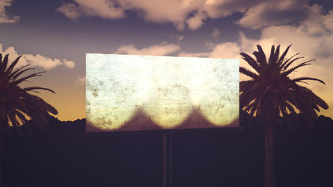 Panorama of city landscape with many palms in park and advertising billboard, summer day Animation