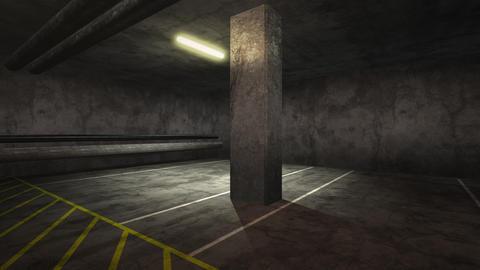 Panorama of motion camera in empty underground garage Animation