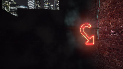 Motion camera on dark alleyway of city with grunge wall of building night time Animation