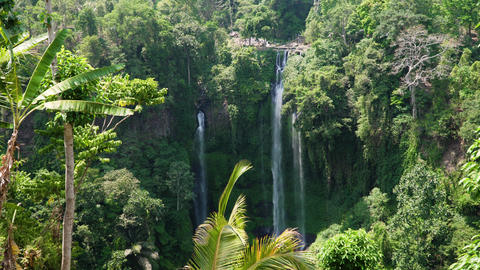 Beautiful tropical waterfall Bali,Indonesia Live Action