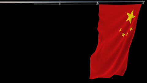 Chinese flag, waving on transparent background, prores footage with alpha Live Action