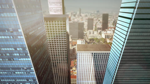 Panorama of city landscape with many big buildings and streets in summer day Animation