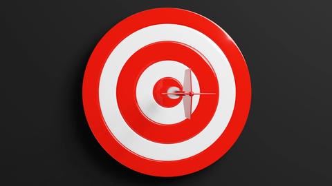 Red dart arrow hits target.Isolated on black background Animation