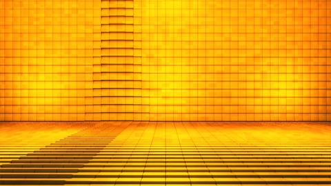 Broadcast Pulsating Hi-Tech Cubes Stage, Golden, Fashion, 3D, Loopable, 4K 애니메이션