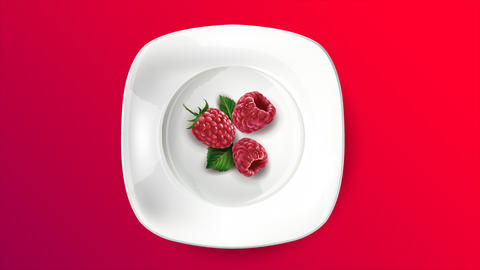 Fresh raspberry berries on a white plate Animation