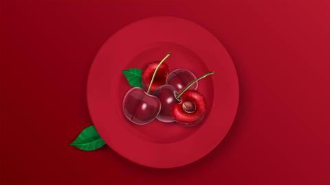 Sweet cherries on a red plate and red background Animation