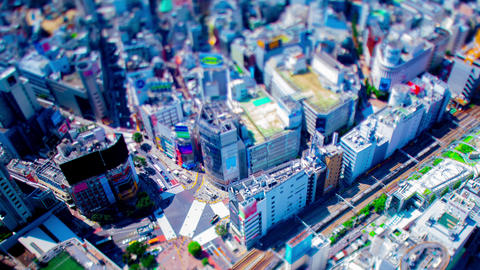 A timelapse of miniature Shibuya crossing in Tokyo high angle panning Live Action