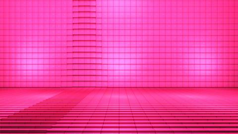 Broadcast Pulsating Hi-Tech Cubes Stage, Pink, Fashion, 3D, Loopable, 4K 애니메이션