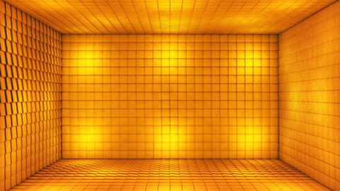 Broadcast Pulsating Hi-Tech Cubes Room Stage, Golden, Events, 3D, Loopable, HD Animation
