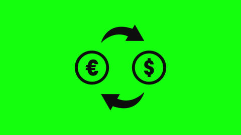exchange currency euro currency dollar currency exchange icon symbol icon black icon exchange green Animation