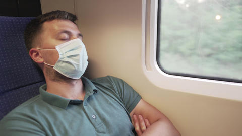 Tourism, healthcare and pandemic concept. Man in protective medical mask protect Live Action