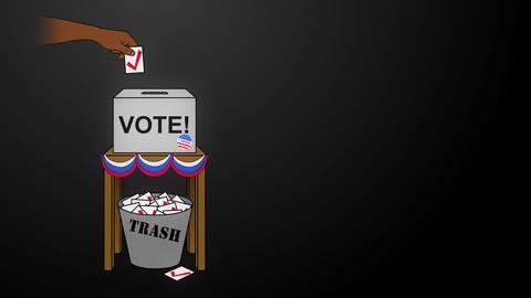 USA Election Rigging Animation on Black Off Center Animation