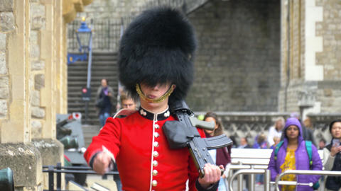 British soldier bypasses territory at duty post Live Action