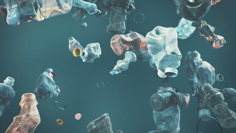 Waste Plastic Bottle falling down loopable background in 4K Animation