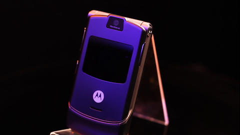 Motorola Razr V3 Flip Mobile Phone Vintage Cellular Device From 2000's, Close Up Live Action