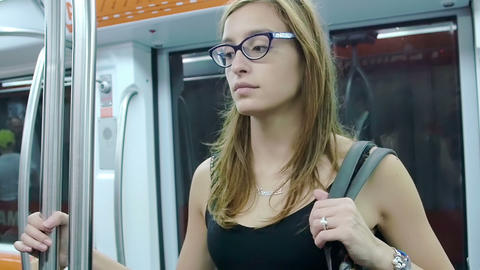 Thoughtful woman on the subway Footage